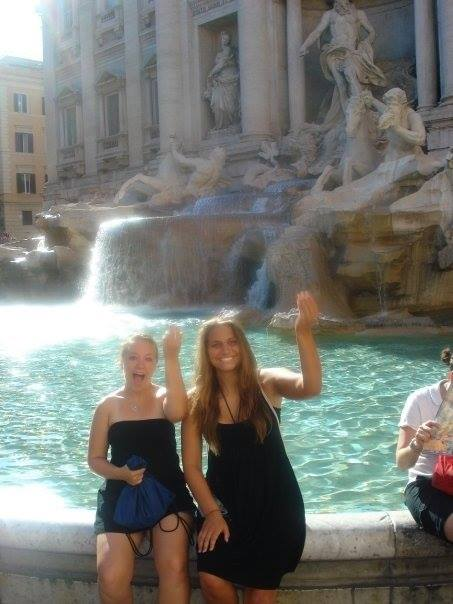 Two girls by the Trevi Fountain