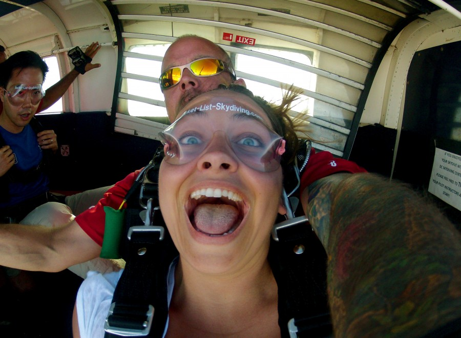 Girl skydiving in VA