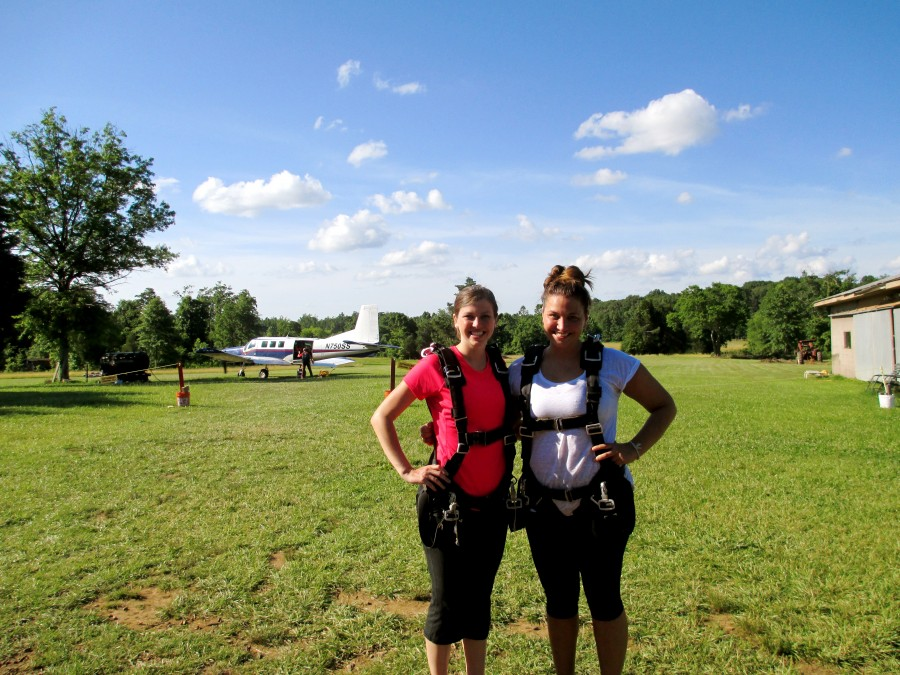Two girls in skydiving gear