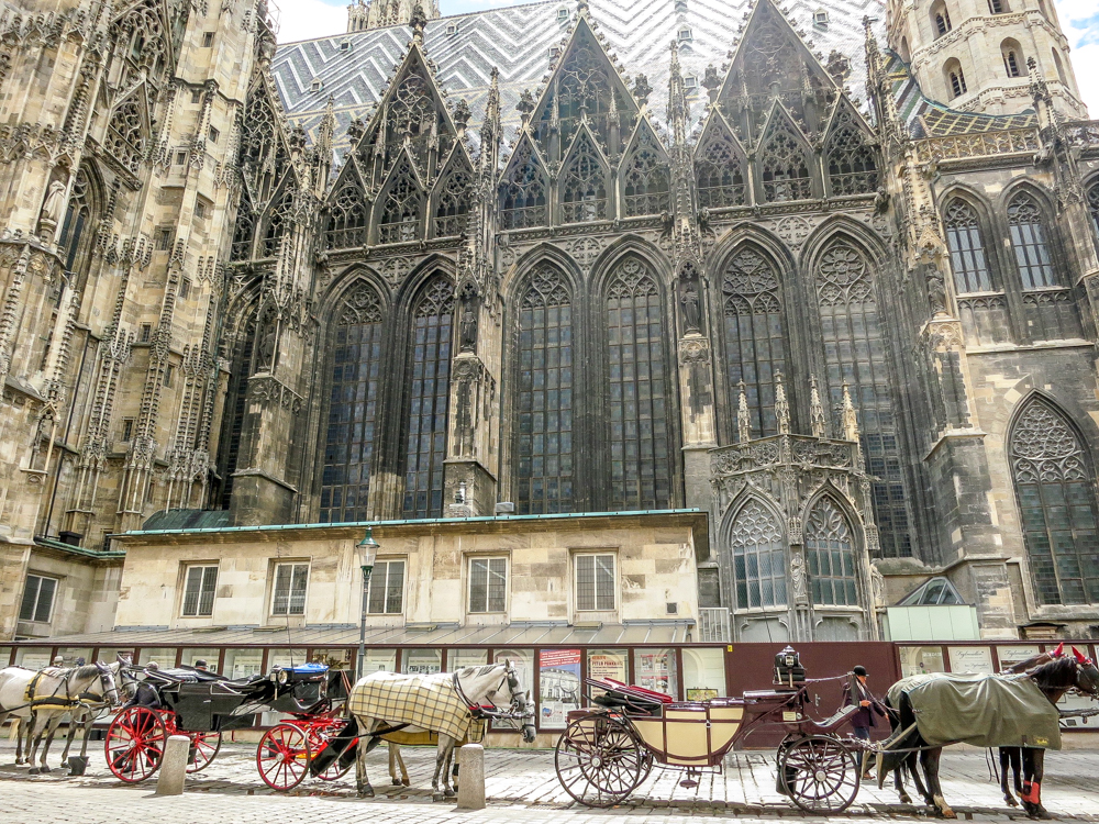 ST. Stephens Cathedral In Vienna Austria with horse and carriages waiting beside.