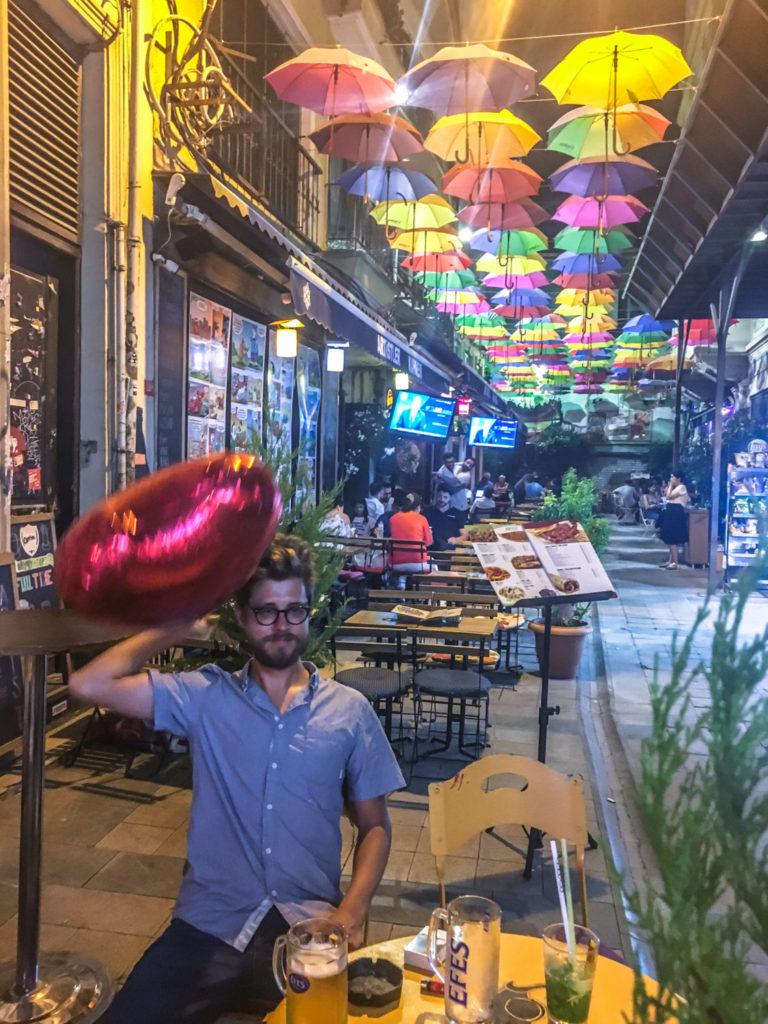Rainbow umbrellas in Istanbul