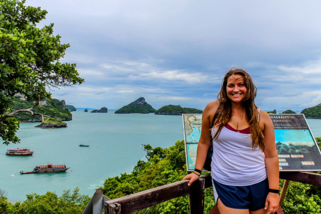 Girl standing by viewpoint in Thailand