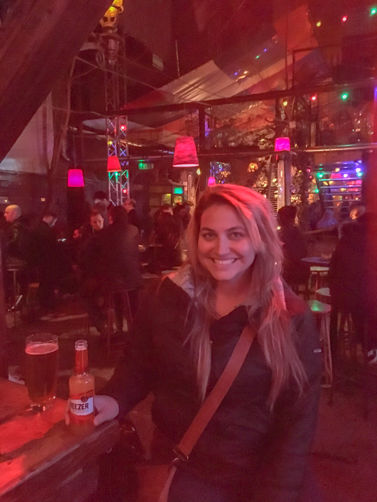 Girl in a ruin bar in Budapest
