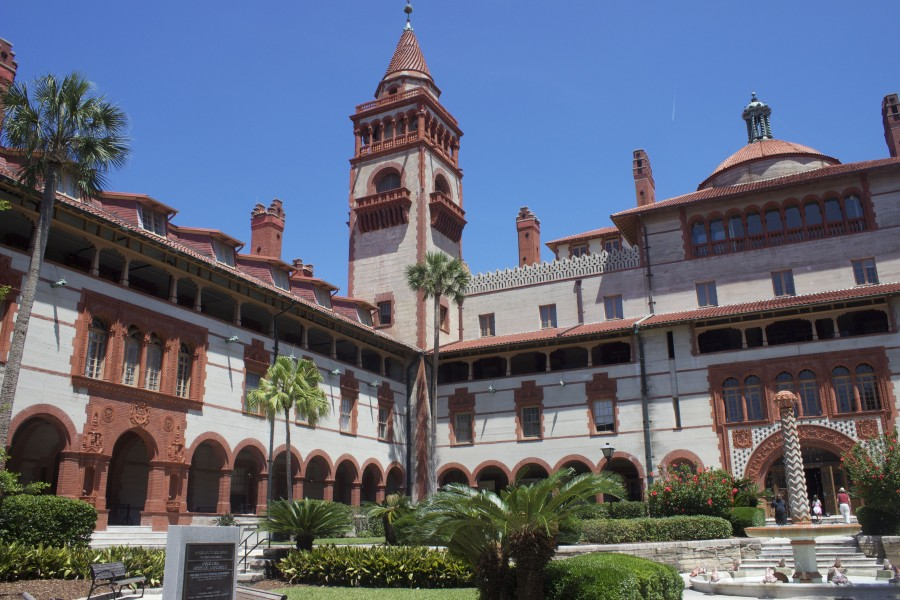 The courtyard of Flagler college in St. Augustine old town.