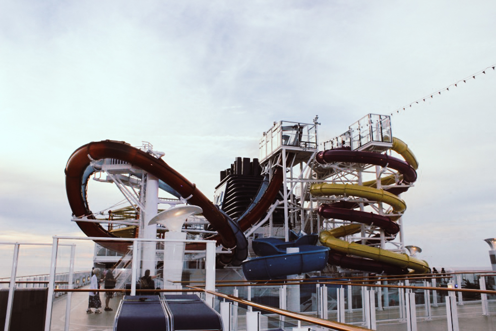 Above deck water park on the Norwegian Break Away ship
