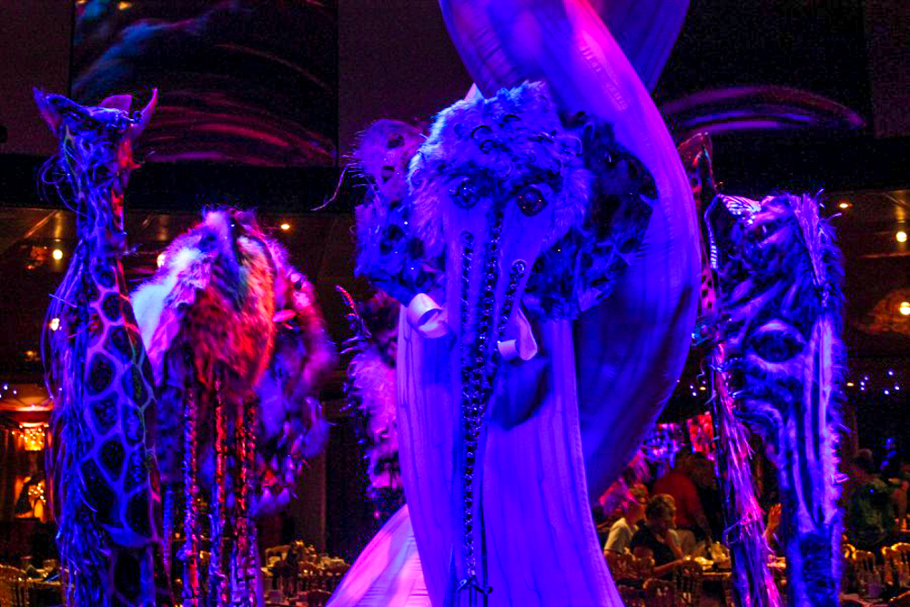 Purple masks from a Cirque du Solei show on a Norwegian cruise