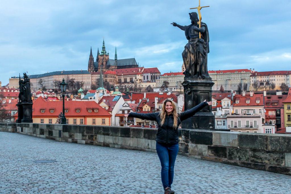 Girl on Charles Bridge in Prague