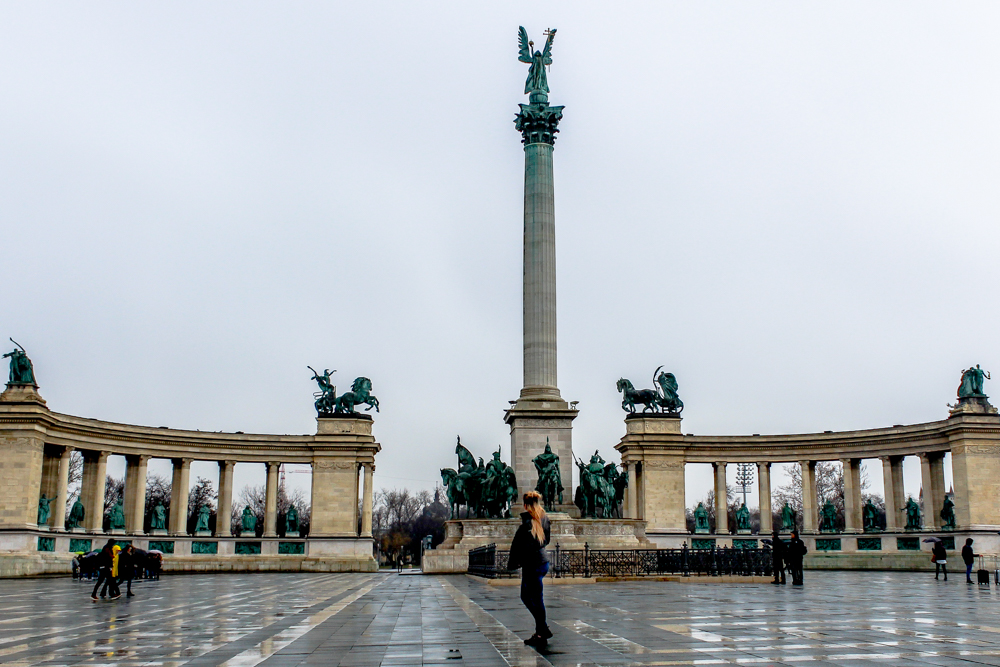 Girl standing in Heroes square in Budapest