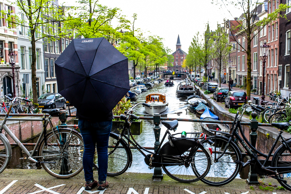 Girl with an umbrella in Amsterdam