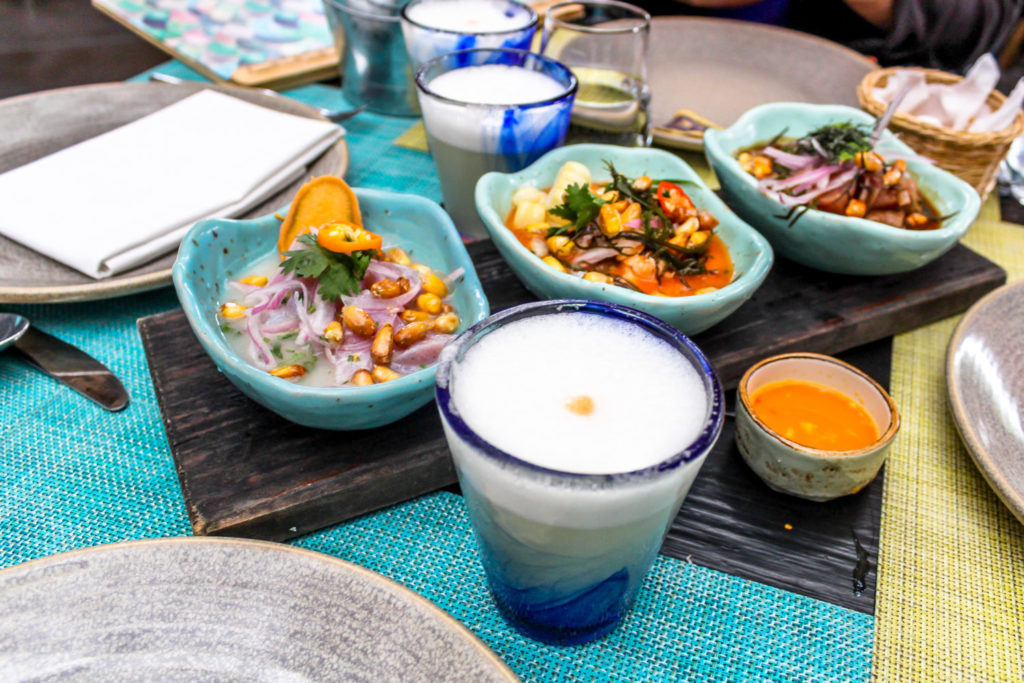 Pisco Sour and ceviche