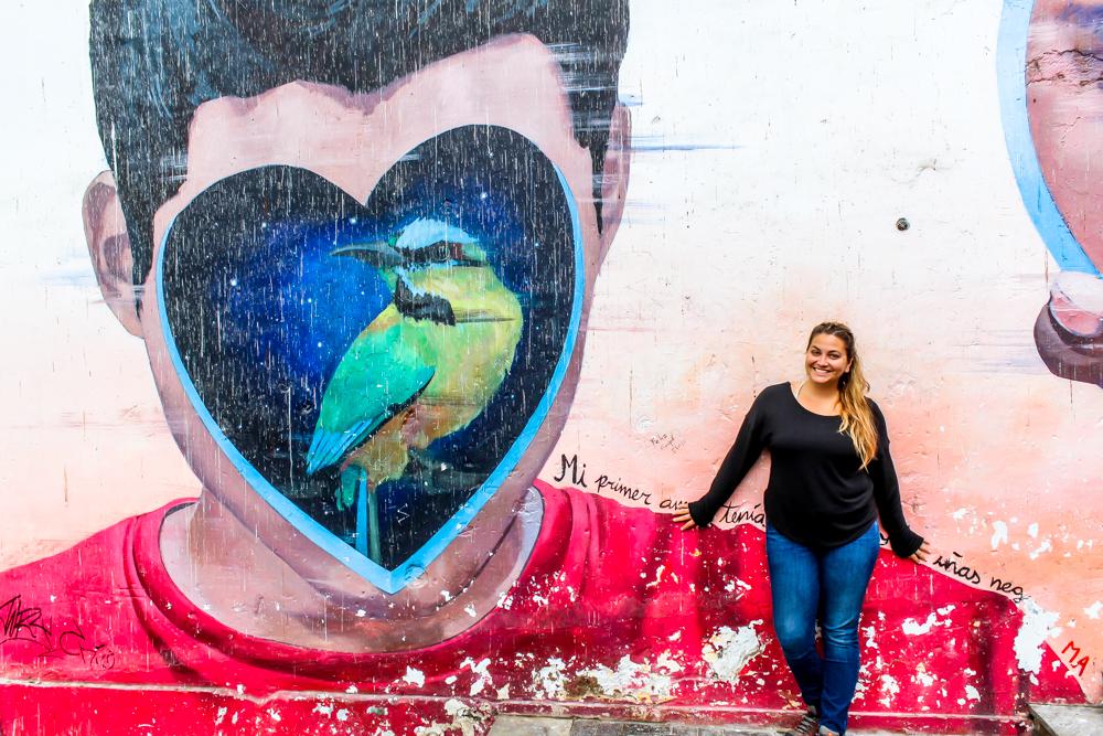 Girl standing in front of street art