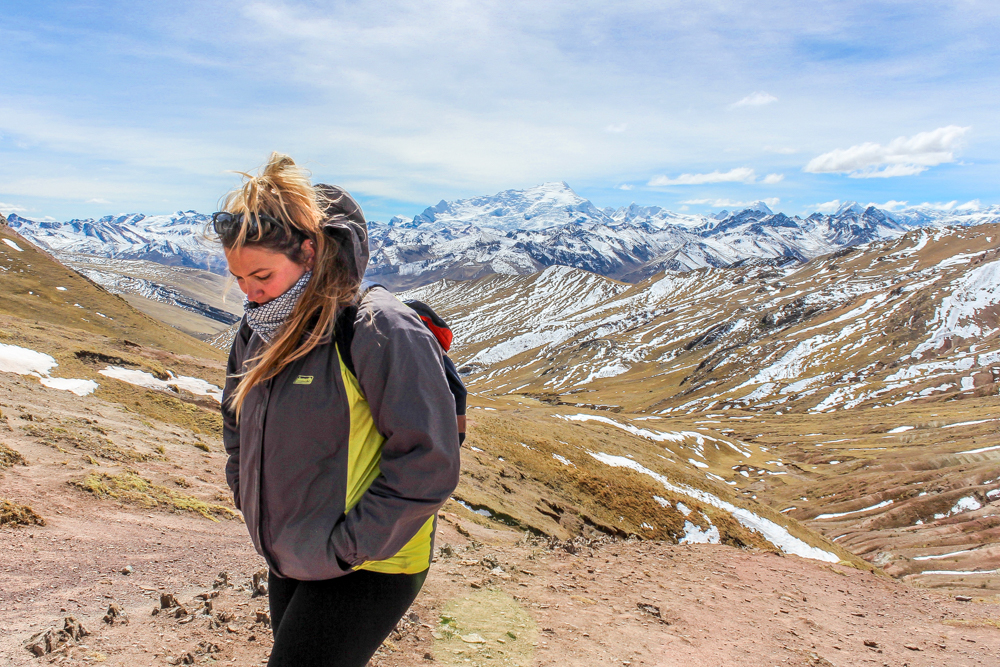 Andes mountains and a girl in foreground