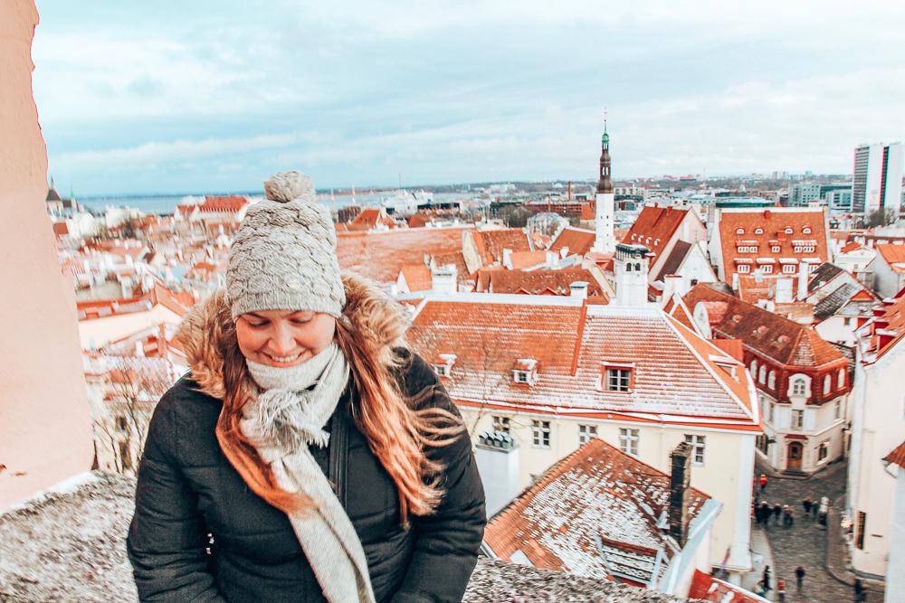 Girl overlooking Tallinn