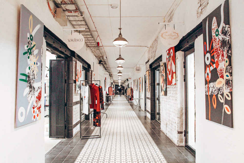 Inside a shopping section in Tallinn's Creative Town