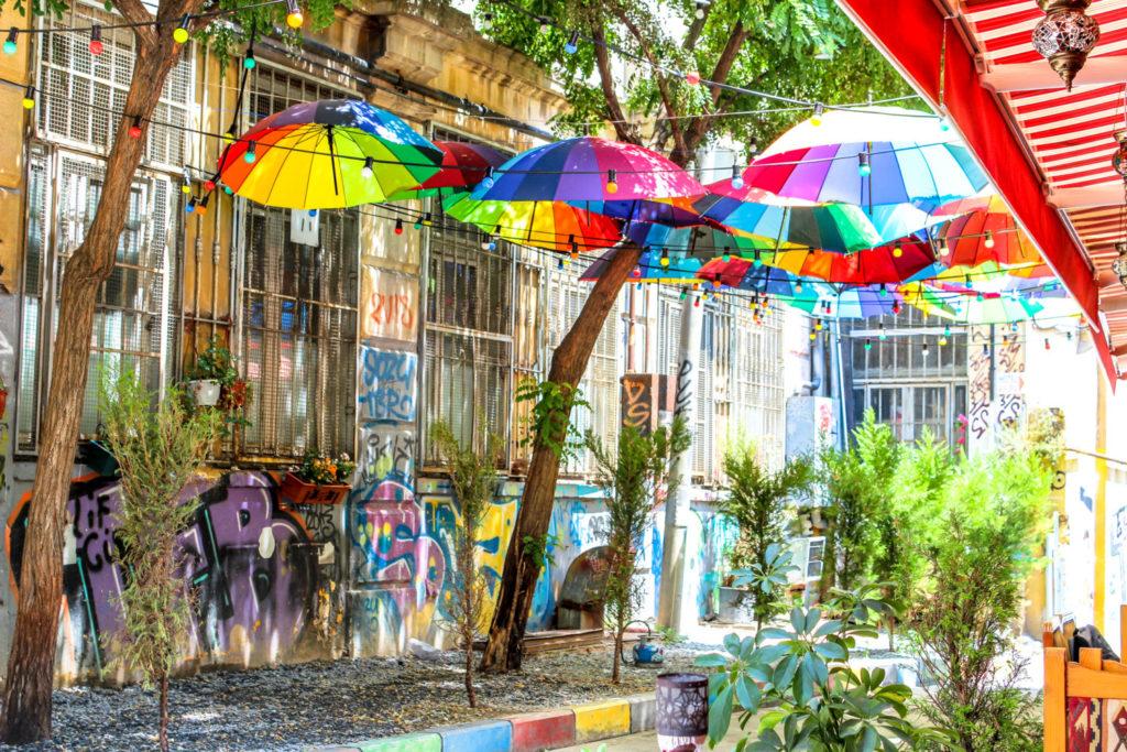 Rainbow umbrella Istanbul