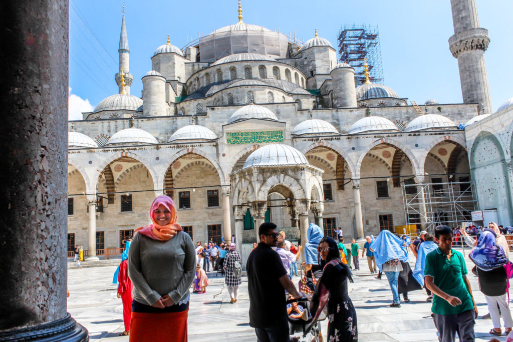 Girl in front of Blue Mosque