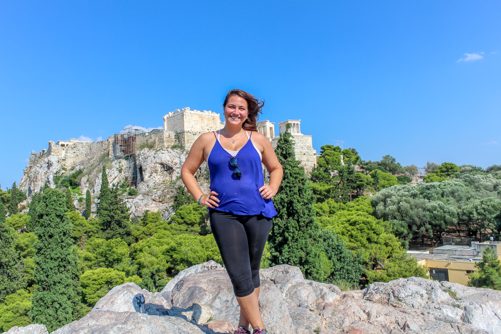 Girl standing on a hill in Athens