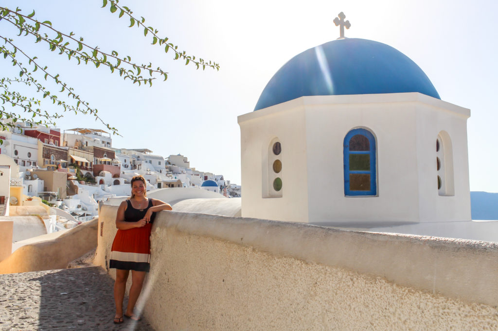 Girl in Santorini Greece