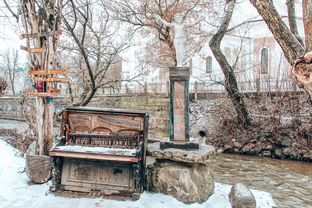 Piano installation by a River