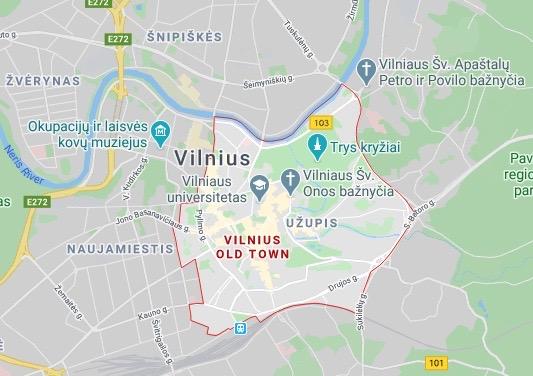 Old Town Vilnius map