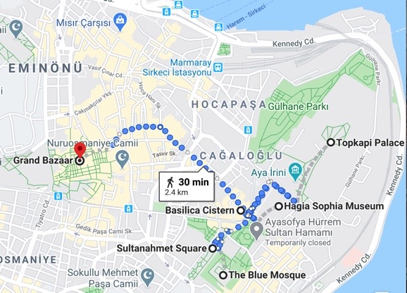 Map for istanbul 2 day itinerary