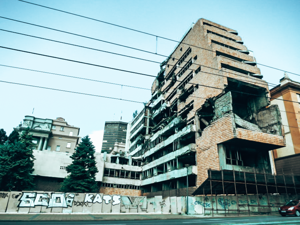 A bombed building in Serbia