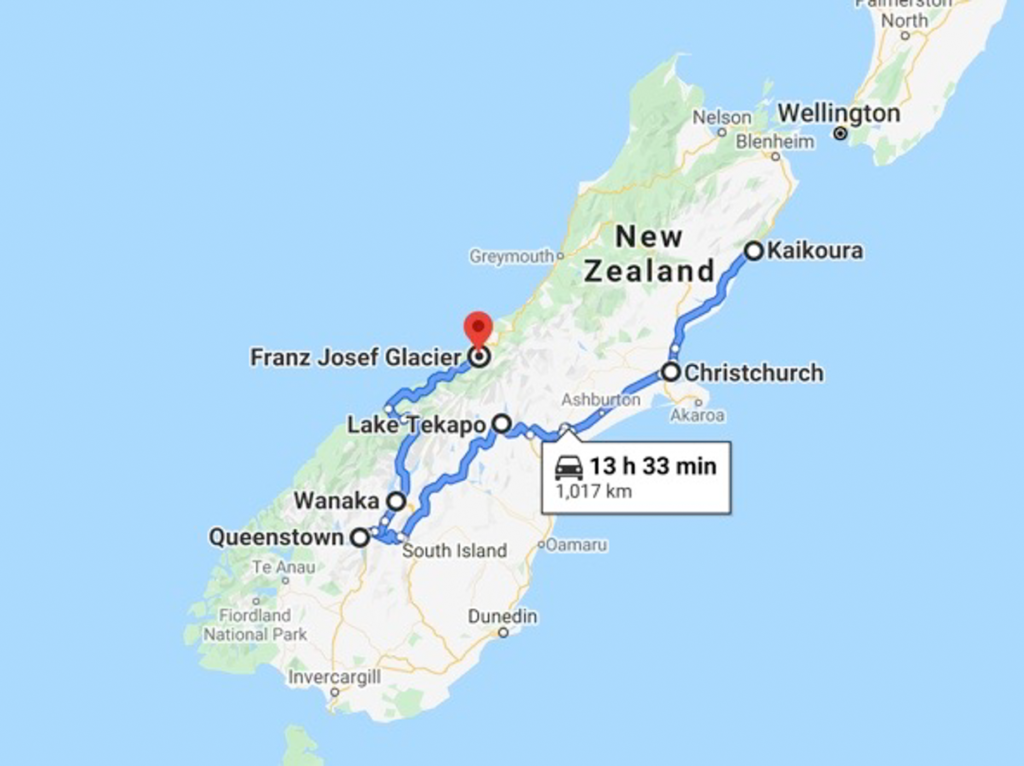 New Zealand South Island Itinerary 10 days Map